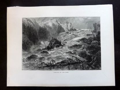 Picturesque Europe C1875 Antique Print. Cascade on the Orbe, Switzerland